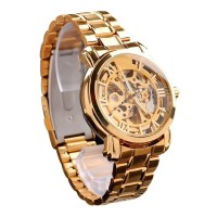 Bluelans Hollow Skeleton Mechanical Watch (Rose Gold)