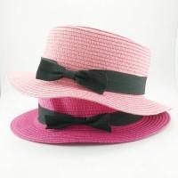 Topi pantai - boater - porkpie - topi anyam Thailand pink