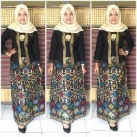 harga gamis batik modern setelan kutubaru GB157 hitam model kutubaru Tokopedia.com