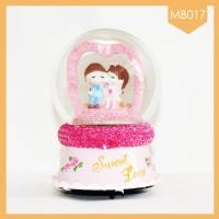 AGEN Snowball Music Box Couple Love Pink Terlaris - Koleksi Musik Box