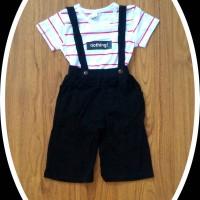 Baju Setelan Anak Perempuan Import Model Salur Celana Kulot Suspender
