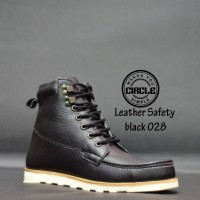 SEPATU CIRCLE SAFETY BOOTS 028 BLACK LEATHER