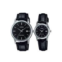 Casio Couple Watch Jam Tangan Couple - Hitam Silver - Strap Genuin