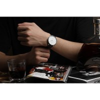 Sinobi Slim Analog Leather Quartz Watch (Silver+White)- Intl