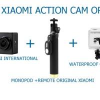 Paket Xiaomi Yi Action cam Camera International + Waterproof + Monopod