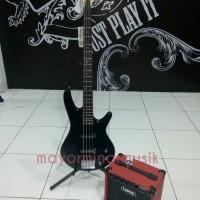 Bass Elektrik Ibanez Gio soundgear GSR180-BK + Amply Laney LX15B