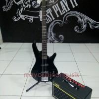 Bass Elektrik Ibanez Gio soundgear GSR180-BK + Amply VOX Patfender 10B