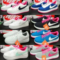 Sepatu Nike Air Max Force One 1 Women Wanita Putih Pink Abu Biru Navy