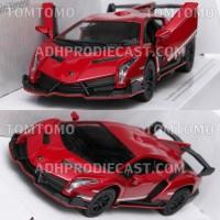 Diecast Lamborghini Veneno (Merah) Mobil Mobilan Mainan