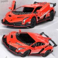 Diecast Lamborghini Veneno (Orange) Mobil Mobilan Mainan Kinsmart