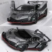 Diecast Lamborghini Veneno (Silver Gray) Mobil Mobilan Mainan Kinsmart