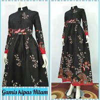 dress gamis kipas hitam I batik pekalongan