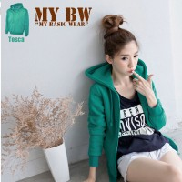 Basic Jacket Hoodie UNISEX with Zipper** GREEEN TOSCA