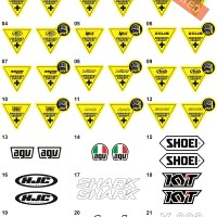 Sticker/Stiker Visor Helm (KYT,INK,MDS,AGV,SHOEI,ZEUS,AIROH,SHARK,KBC)