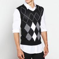 Sweater Rompi Rajut Hitam - Knitt Vest 08