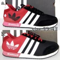 sepatu adidas neo logo cap hitam merah