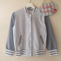 [ Jaket / Outer Cewek / Wanita ] - Baseball Jacket - Light Gray