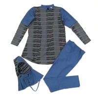 Baju Renang Anak Muslimah / Muslim Swimwear Motif Pro Comb Abu Biru