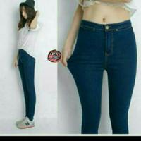Jual highwaist jeans | celana high waist | celana hw jeans navy dark blue Murah