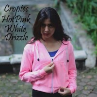 harga SWEATER HOODIE POLOS CROPTEE CEWEK HOT PINK WHITE DRIZZLE / JAKET POLO Tokopedia.com