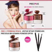 Jual PRECIOUS BB Vitamin powder SPF30 #23natural - BROWN JAR+FREE EYEBROW Murah