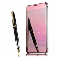 Jual Free Tempered Glass Samsung Galaxy Note 4 Mirror Cover Flip Case Back Murah
