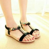 harga sepatu/shoes/sendal/sandal kepang flat datar cewek perempuan hitam Tokopedia.com