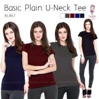 Jual Basic U Neck Tee Shirt Kaos Polos (BL867) Murah
