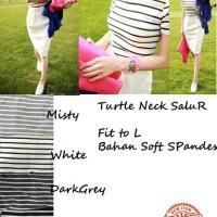 Harga jual pakaian wanita turtleneck salur atasan wanita tshirt | antitipu.com