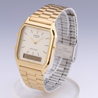 jam tangan wanita emas girly gold casio AQ 230GA-9d original dual time