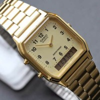 jam tangan wanita modis gold emas casio AQ 230GA-9b ori analog digital