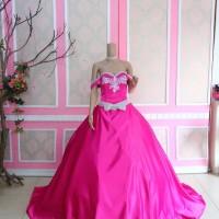 gaun pengantin lengan pendek wedding gown murah baju pengantin berekor