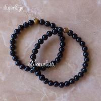 Gelang Batu Alam Black Onyx Hitam + TigerEye, 6mm