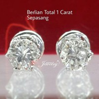 PROMO Giwang/Anting/Earing BERLIAN 1,00 Ct Sepasang Ring Emas 40%