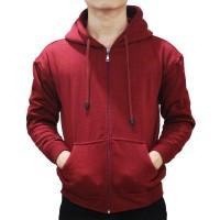 Jual Jaket Sweater Polos Hoodie Zipper Merah Maroon Murah