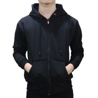 Jual Jaket Sweater Polos Hoodie Zipper Hitam Murah