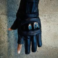 Jual Sarung tangan motor full kulit asli model jempol & telunjuk terbuka Murah