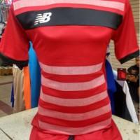 Setelan Jersey Celana Bola Futsal Lokal Polosan NB Merah