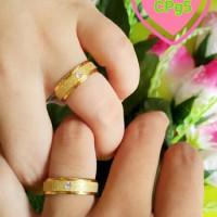 Cincin Mutiara Emas Couple Titanium Kawin / Ring Gold Pria Wanita