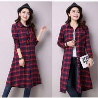 Kemeja / Baju / Blouse / Atasan / Atasan Wanita / flanel / Red / Black