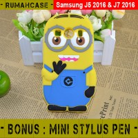 Samsung Galaxy J7 2016 Minion 3d Karakter Lucu Soft Case Casing Cover