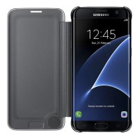 Samsung Clear View Flip Cover Galaxy S7 Edge Original - Blac LarisJaya
