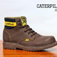 Sepatu Boots Pria CAT Alinskie Skinny Leather Darkbrown Safety
