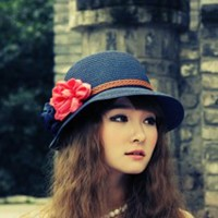 topi gaya / topi pantai /topi wanita / topi pita / topi fashion jerami