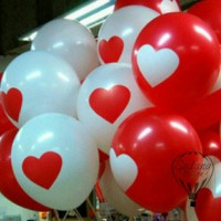Balon Motif Hati Merah Putih - Lengkap Murah