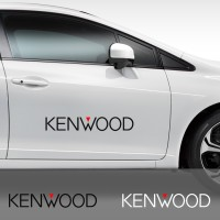 Cutting Sticker Kenwood Pintu Kaca Mobil 60 cm Sound System Stiker