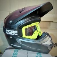 harga Helm Motor Cross Trail Cargloss + Goggle Gun Metalik Tokopedia.com