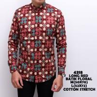 kemeja cowok atau kemeja cowok motif batik floral red