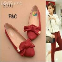 Sepatu Flatshoes Wanita Merah Pita Supplier Sepatu Wani Diskon