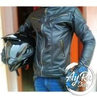 ... harga Jaket Kulit Sintetis Racing Motor Pria Hitam Tokopedia.com 39c9edf11d